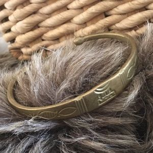 Antique Egyptian revival solid brass cuff bracelet